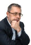 Portrait of senior businessman in a black jacket Stock Photos
