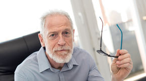 Portrait of senior businessman holding his glasses Stock Photography