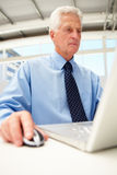Portrait of senior businessman using laptop Royalty Free Stock Photos
