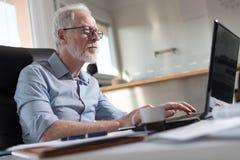 Portrait of senior businessman working on laptop, hard light Royalty Free Stock Image