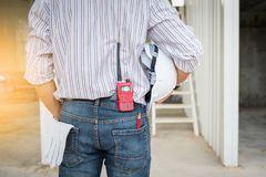 Portrait of senior civil engineer in construction site Royalty Free Stock Image