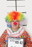 Portrait of senior clown posing for mug shot Stock Image
