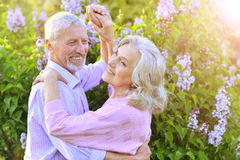 Portrait of a senior couple dancing Stock Photos