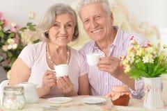 Portrait of a senior couple drinking tea Stock Photo