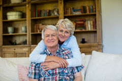Portrait of senior couple embracing each other Stock Images