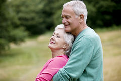 Portrait of a senior couple embracing, outdoors Stock Photography