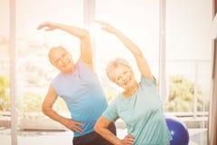 Portrait of senior couple exercising. Portrait of smiling senior couple exercising at home Royalty Free Stock Photos