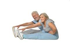 Portrait of Senior Couple Exercising Stock Image