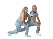 Portrait of Senior Couple Exercising Stock Images