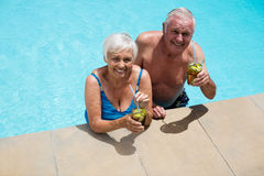 Portrait of senior couple holding glasses of iced tea. In pool Stock Photo