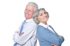 Portrait of senior couple. Isolated on white background Royalty Free Stock Photos