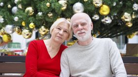 Portrait Of Senior Couple Near Decorated Christmas Tree At Mall Happy Family Sitting And Smiling