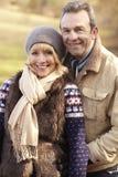 Portrait senior couple outdoors in winter Stock Photos