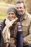 Portrait senior couple outdoors in winter Stock Photos