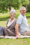 Portrait of a senior couple sitting at park Royalty Free Stock Photo