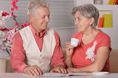 Portrait of senior couple with tea Royalty Free Stock Image