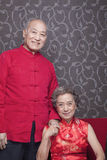 Portrait of senior couple in traditional Chinese clothing Royalty Free Stock Images