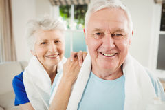 Portrait of senior couple after a workout. Portrait of senior couple smiling after a workout Royalty Free Stock Photos