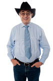 Portrait of a senior cowboy wearing hat Royalty Free Stock Images