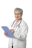 Portrait of senior doctor with clipboard Royalty Free Stock Photography