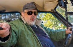 Portrait of senior driver making popular selfie Stock Photo