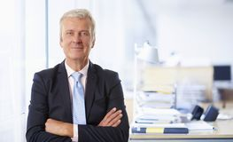 Senior businessman standing with arms crossed at the office stock image