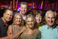 Portrait Of Senior Friends On Evening Out Together Royalty Free Stock Photography