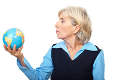 Portrait of senior hold a globe Royalty Free Stock Photo
