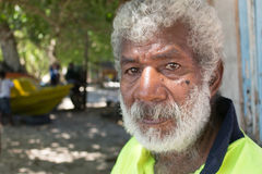 Portrait of a senior islander in Owaraha, Solomon Island. Royalty Free Stock Photo