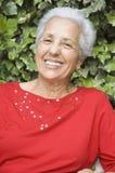 Portrait of senior lady. White haired senior lady smiling Stock Image