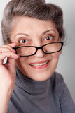 Portrait of senior lady wearing glasses Stock Image