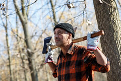 Portrait of senior lumberjack Royalty Free Stock Images