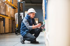 Portrait of a senior male warehouse worker or a supervisor. Portrait of a senior male warehouse worker or a supervisor with handheld barcode scanner Royalty Free Stock Images