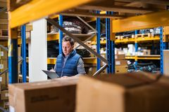 Portrait of a senior male warehouse worker or a supervisor. Portrait of a senior male warehouse worker or a supervisor with clipboard, making notes Royalty Free Stock Photography