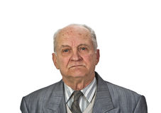 Portrait of a senior man. Isolated against a white background Stock Image