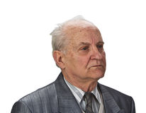Portrait of a senior man. Isolated against white background Stock Photography
