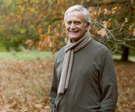 A portrait of a senior man in autumn time Stock Photography