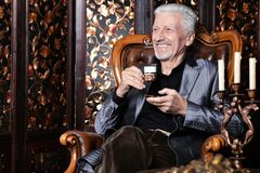 Portrait of senior man drinking at home royalty free stock image