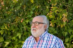 Portrait of senior man in the garden Royalty Free Stock Photography