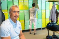 Portrait senior man in locker room Stock Photography