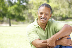 Portrait Of Senior Man In Park Stock Photo