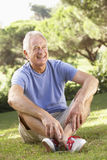 Portrait Of Senior Man Relaxing In Countryside Stock Images
