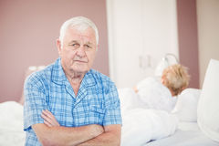 Portrait of senior man sitting at home Royalty Free Stock Image