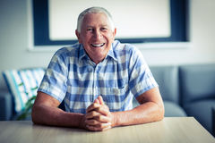Portrait of senior man smiling. At home Stock Image