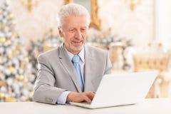Portrait of a senior man using laptop royalty free stock image