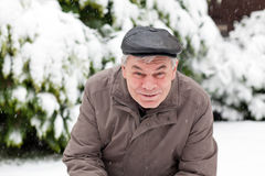 Portrait of senior man on winter day Royalty Free Stock Photos