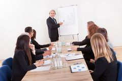 Portrait Of A Senior Manager Giving Presentation Royalty Free Stock Photography