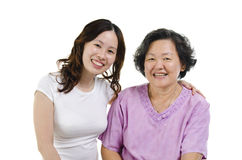 Portrait of senior mother and adult daughter Stock Photos