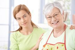 Portrait of senior mother and daughter smiling Royalty Free Stock Photo