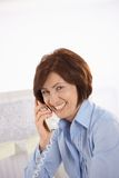 Portrait of senior office worker on phone Royalty Free Stock Images
